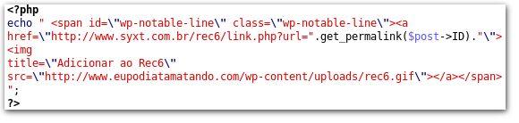 Codigo PHP como adicionar o REC6