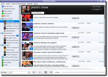 Democracy TV Player dentro de um canal