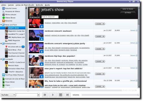 Democracy TV Player dentro de um canal
