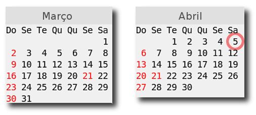 Calendário de março e abrilde 2008