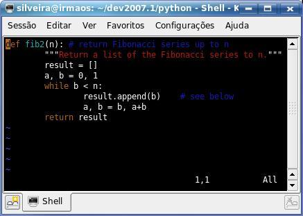 Vim com syntax highlight