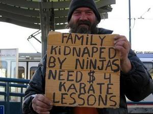 Family Kidnaped by ninjas need $4 karate lessons