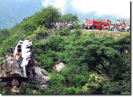 Ônibus cai em serra da Ibiapaba