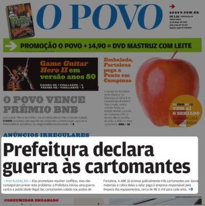 Capa do jornal O Povo 22052007