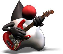 Duke tocando guitarra