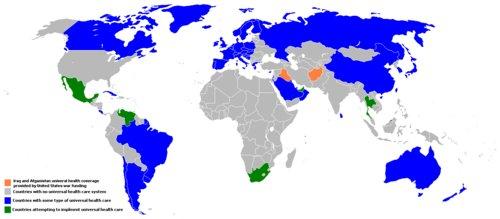 Mapa da cobertura do sistema de saúde universal
