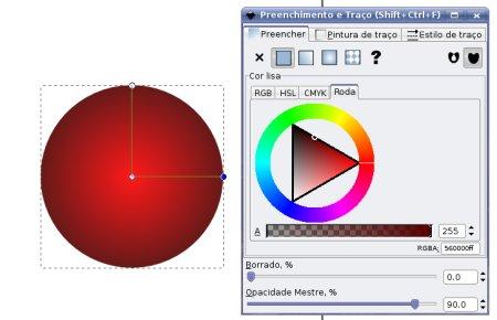 Inkscape gradiente vermelho escuro