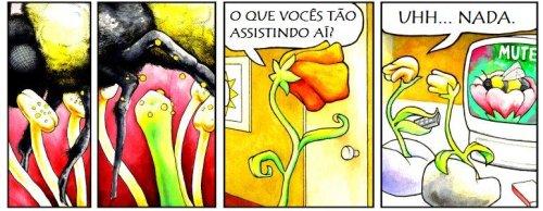 Perry Bible Fellowship em português, flores assistindo filminho