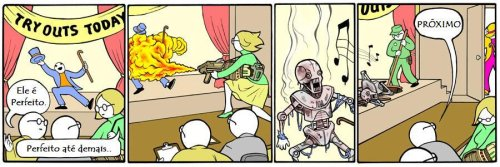 Perry Bible Fellowship em português, robô cyborg dancarino