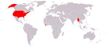 Mapa mundial dos países que não adotaram o SI