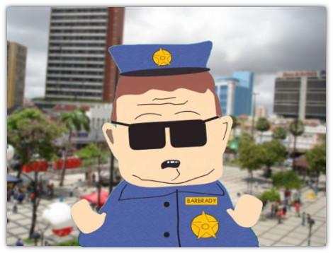 policial Barbrady de south park, centro de Fortaleza