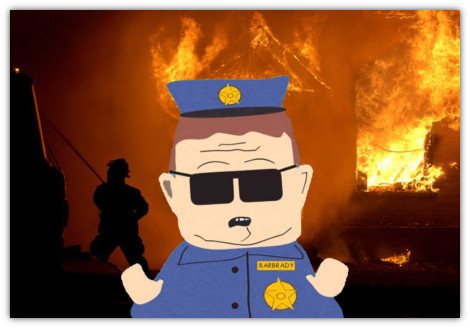 policial Barbrady de south park, incêndio