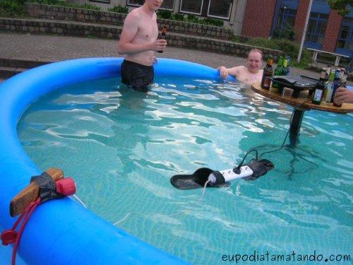 piscina choque descalço banho água